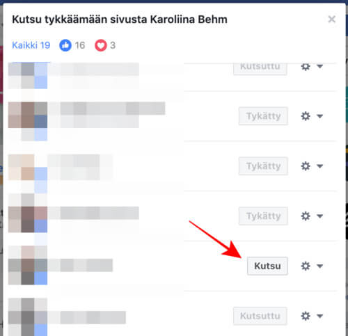 Saat kutsuttua julkaisuistasi tykänneet ihmiset tykkäämään myös Facebook-sivustasi.