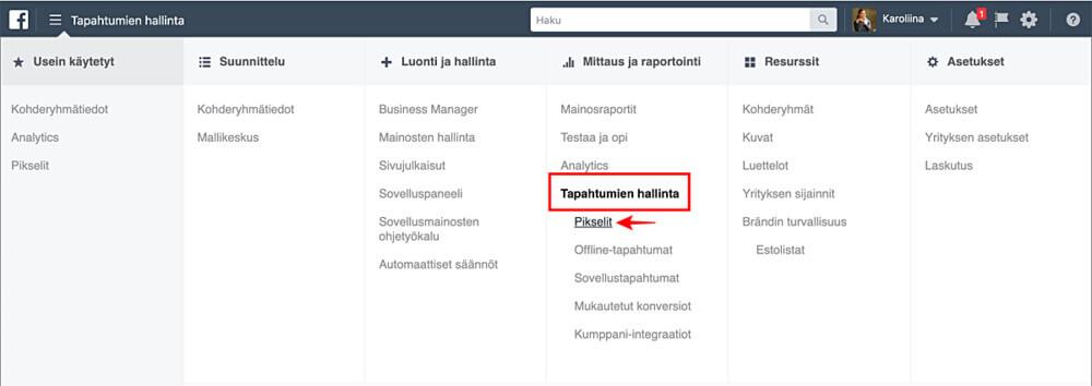"""Luo Facebook-pikseli Tapahtumien hallinta -valikon kautta kohdasta """"Pikselit"""""""