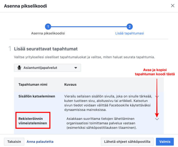Facebook pikselin asentaminen