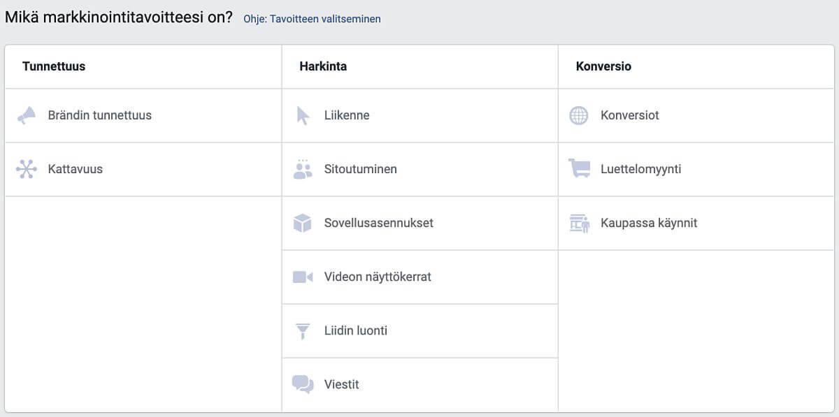 Facebookin mainonnan tavoitteet