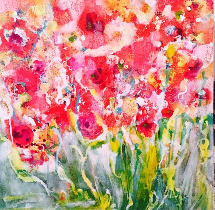Red Flowers  24x24  $750