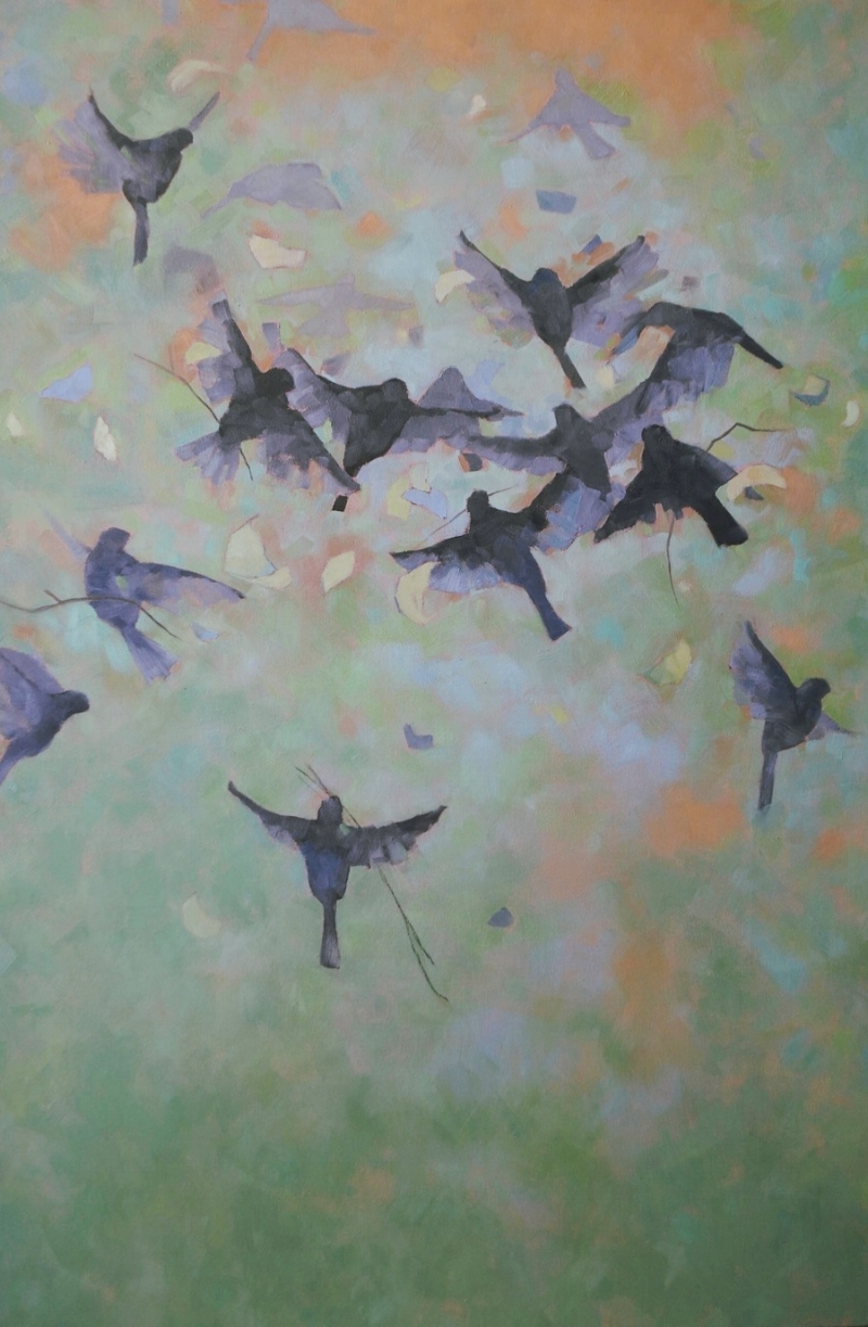 Birds III, 42x64, oil on canvas (sold)