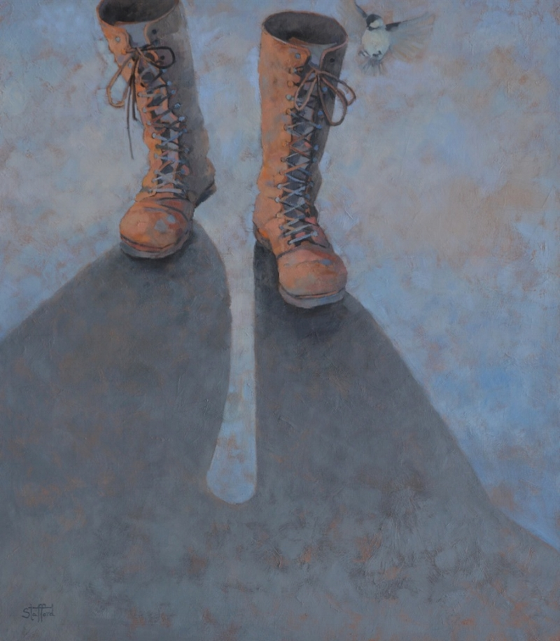 Self Portrait in Boots, 42x48, oil on canvas (sold)