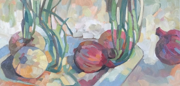 """Onion Still life"" oil on canvas 10 x 20"