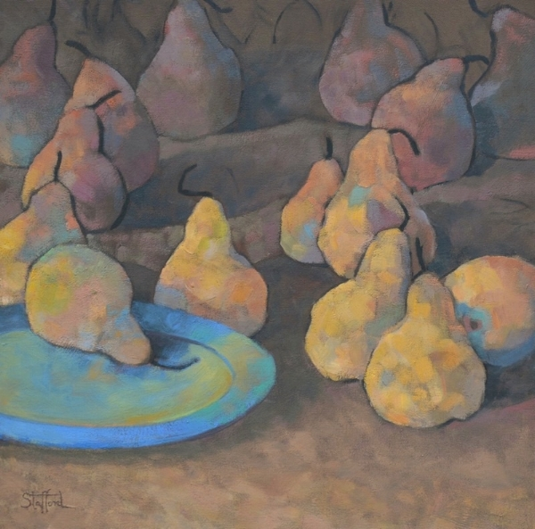 Pears with Blue Plate, 26x26, oil on canvas