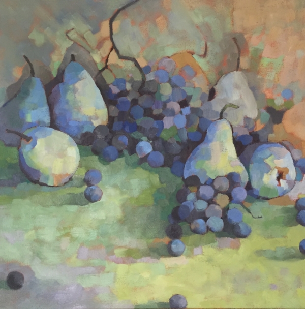 """""""Pears and Grapes"""" oil on canvas 26 x 26 (sold)"""