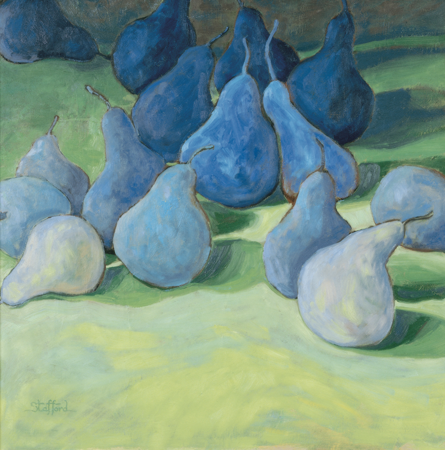 blue pears on green 21x22