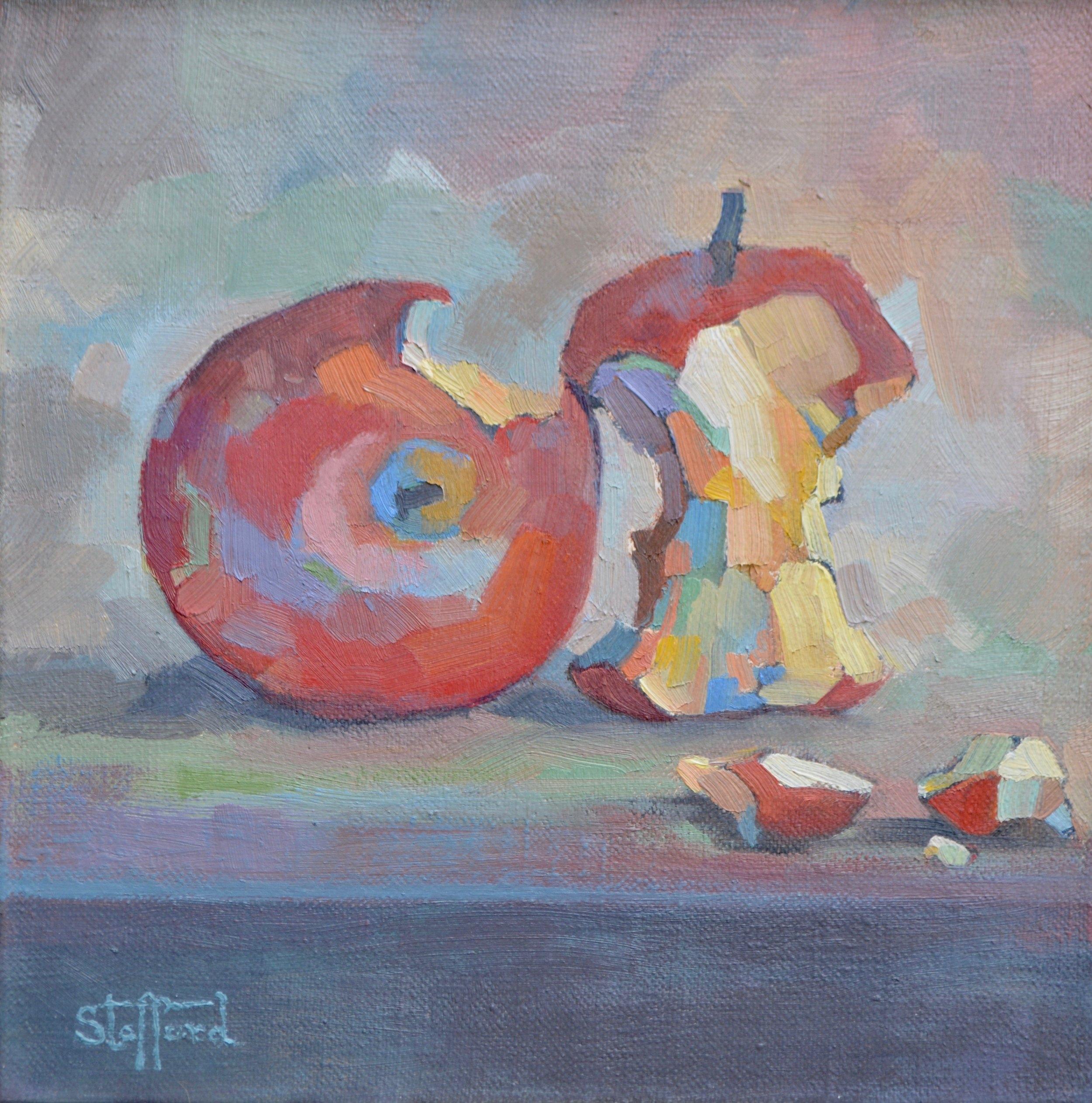 """apples VII, 10""""x10"""" oil on linen"""