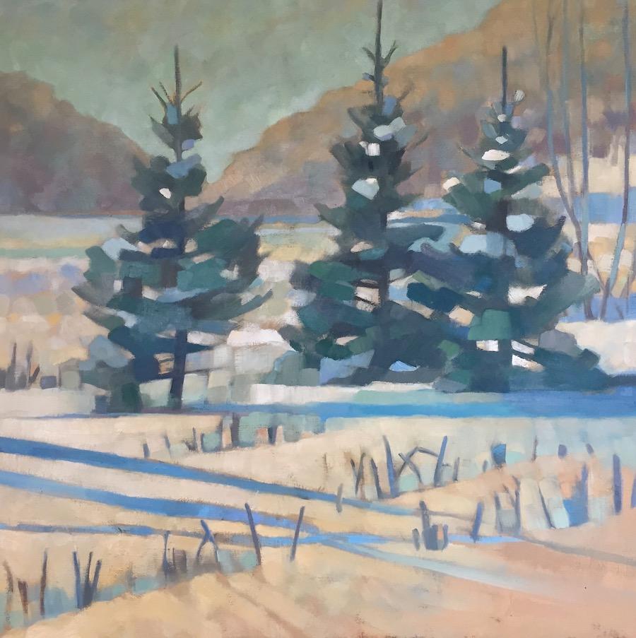Winter Pines, 30x30, oil on linen