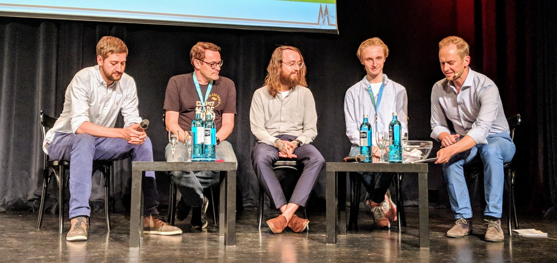 ' Eyes & Ears Insights: Influencer Marketing for Media Brands ': Robin Blase , Christoph Krachten , Felix Hummel (BuzzBird), Charles Bahr und  Christian Zabel (v.l.n.r.)
