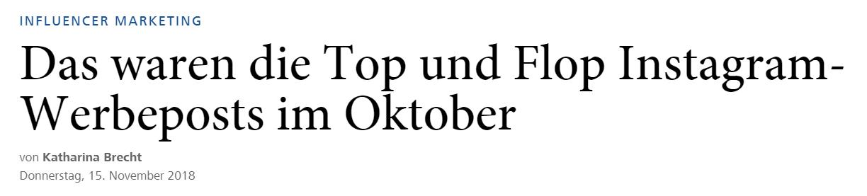 Die frohe Kunde:  Horizont-Artikel über Instagram-Tops und Flops im Oktober