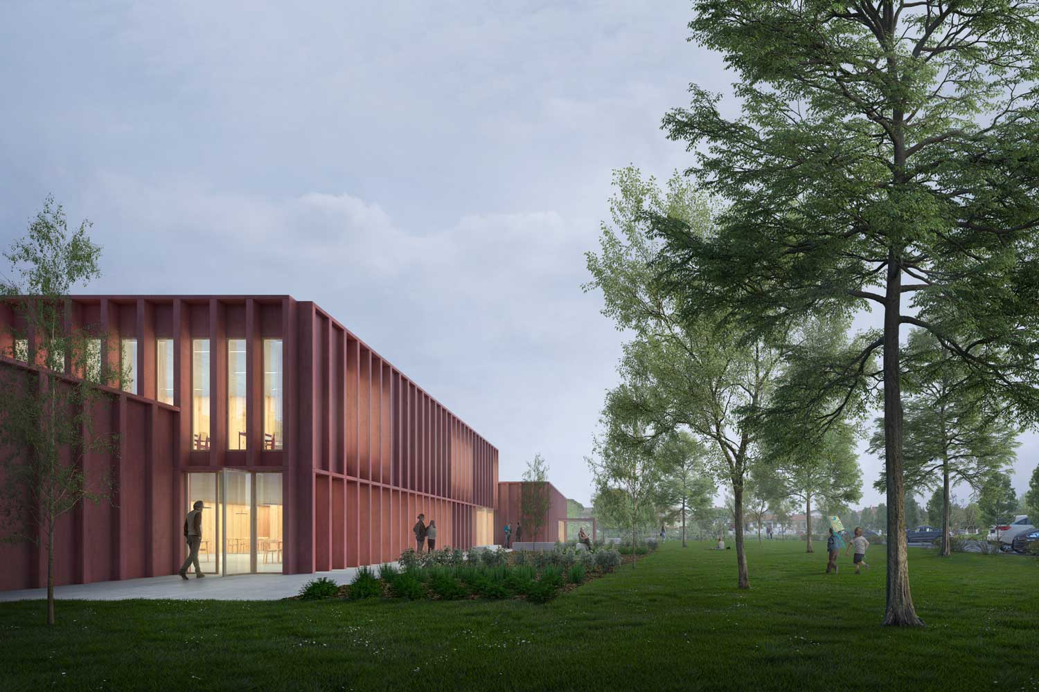 First prize in the competition for the extension and reconstruction of Trojska school in Prague, Czech Republic