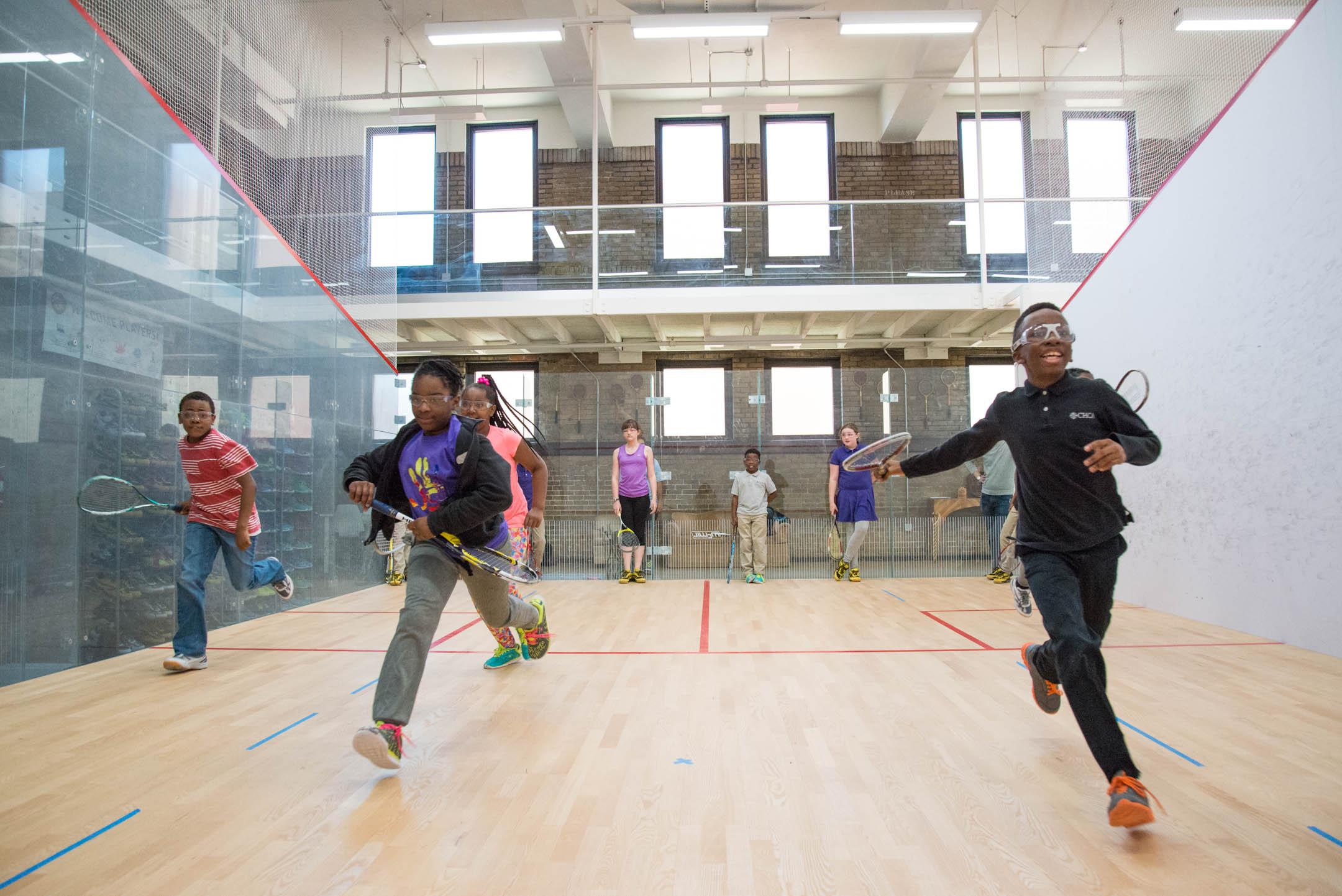 Kids of the Cincinnati Squash Academy run sprints during practice Monday May 8, 2017.