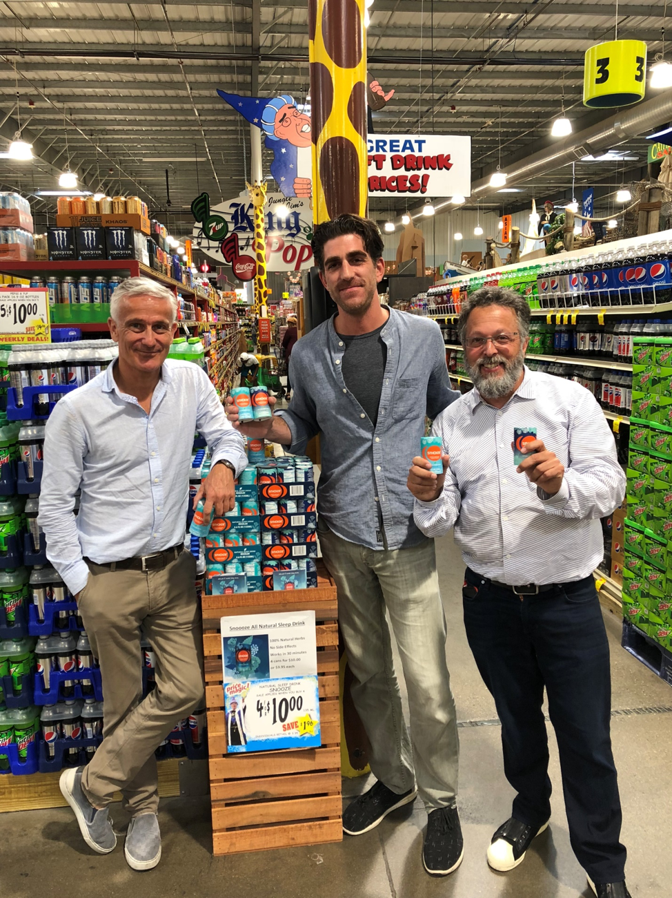 Photo:  Hans Vriens, founder of Snoooze, Chris Bonamino of Jungle Jim's and Rick Ross, CEO of Galerie who is partnering with Vriens to launch Snoooze in Cincinnati as a test market for the U.S. roll out.