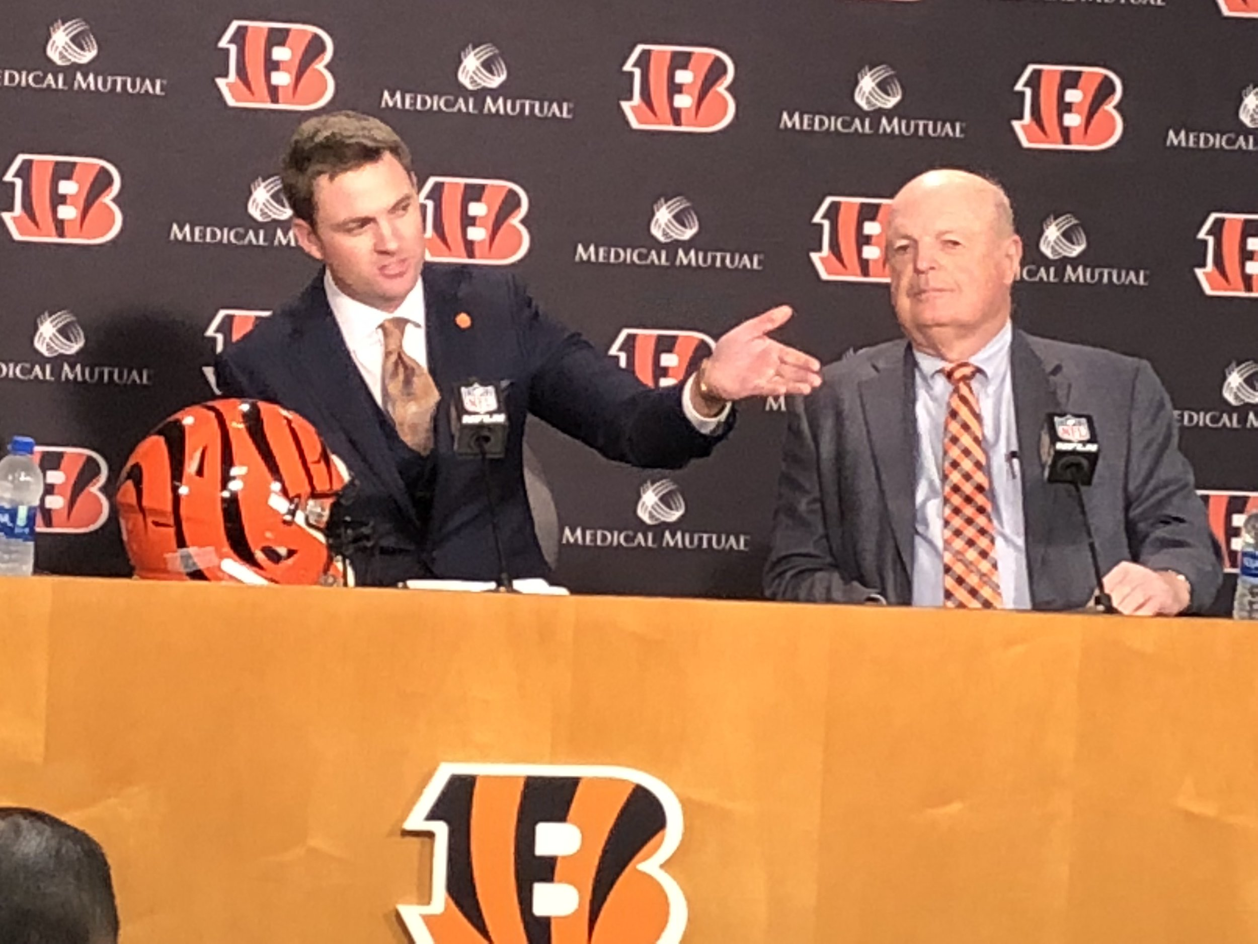 Zac Taylor introduces his family in attendance at the Tuesday news conference to announce his hiring as the Bengals new head coach.