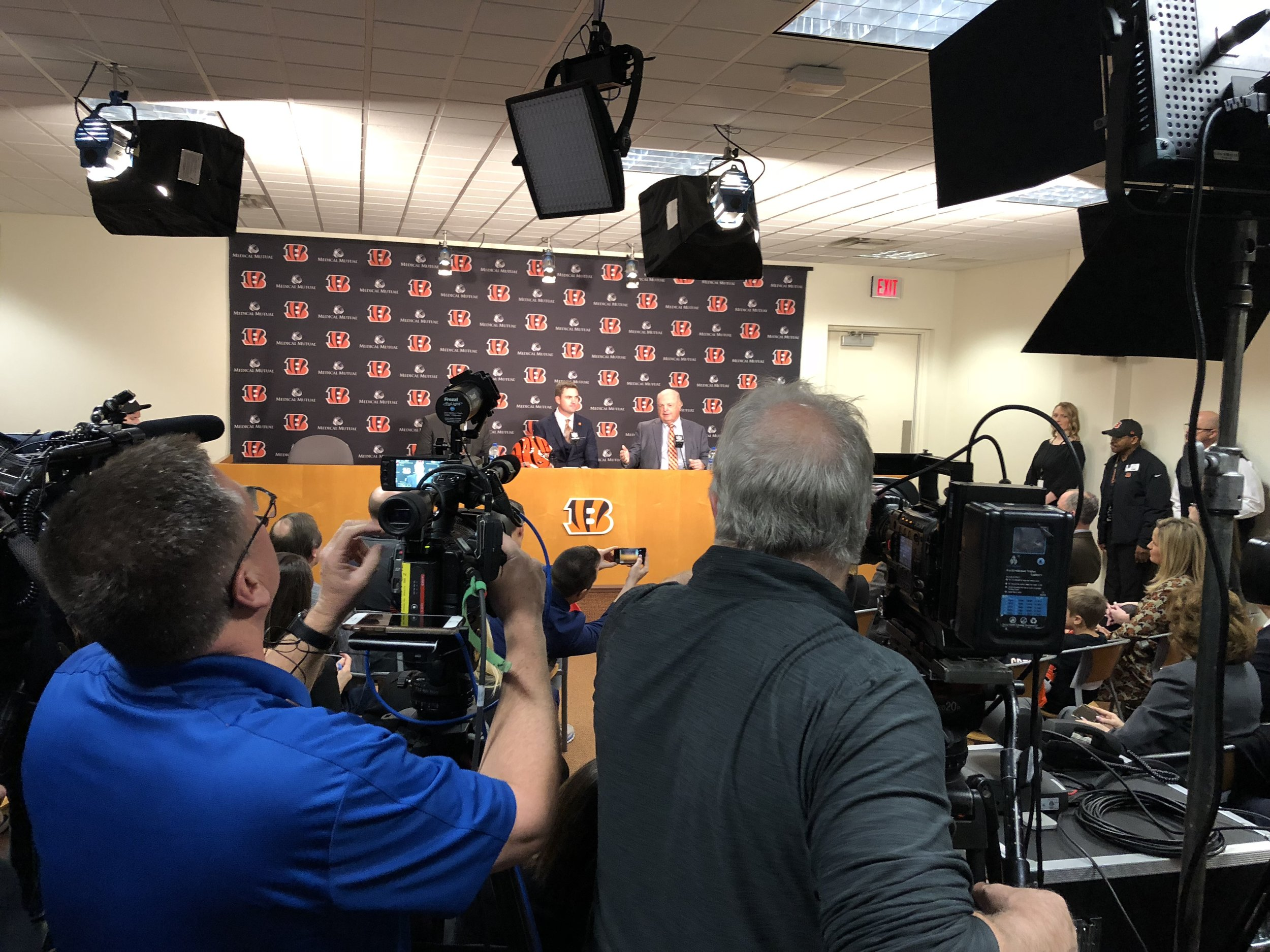 The Bengals media room is packed for the Tuesday news conference with new head coach Zac Taylor.