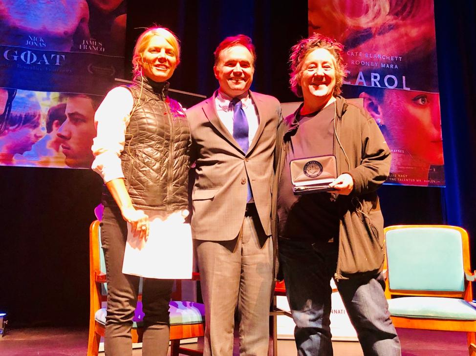 Mayor John Cranley presents Christine Vachon (at right) before last evening's event. Film Cincinnati executive director Kristen Schlotman moderated the panel.