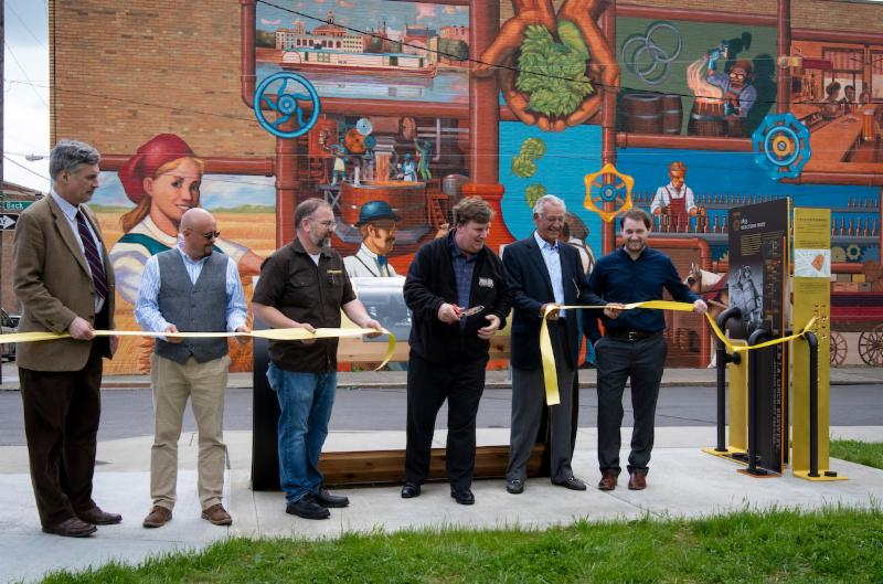 Official Ribbon Cutting of the Brewing Heritage Trail (L to R):  John Hauck, Donor to the Brewing Heritage Trail; Michael Morgan, Curator of the Brewing Heritage Trail; Steve Hampton, Executive Director of the Brewery District; Greg Hardman, President & CEO, Christian Moerlein Brewing Co.; Bill Weyand, Donor to the Brewing Heritage Trail and Albert Vontz IV, Donor to the Brewing Heritage Trail