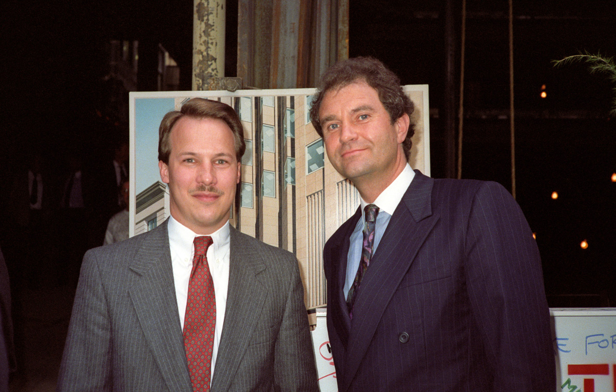 David Harrison and Ian Paget   on the 235 Pine construction site in 1989