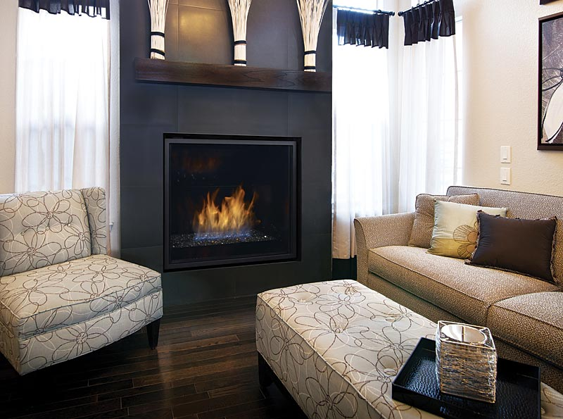 Regency HZ965E    View Full Specs   Styled for contemporary environments, the Regency Horizon HZ965E features an inset design that allows finish materials to be installed right up the fireplace's edges for a clean look with one of the largest viewing areas offered.