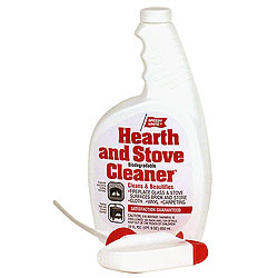 Speedy White   This product will remove creosote, smoke, soot and grease from glass fronts, stone, brick, the hearth or even barbecue grills.
