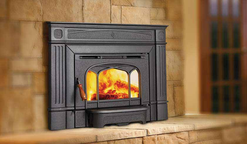 Hampton H1200 Wood Insert    View Full Specs   This Hampton cast wood insert installs easily into your existing fireplace adding the timeless beauty of cast iron while eliminating drafts from an open fireplace. This fireplace insert can deliver up to 55,000 BTUs.