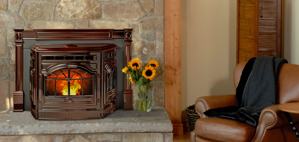 Quadra-Fire Castille Pellet Insert    View Full Specs   The Castile Fireplace Insert features intricate cast iron detailing and an optional porcelain enamel finish. With four color options available the insert is gorgeous, high quality, and made to last. The automatic ignition system and thermostat control offer convenient operation