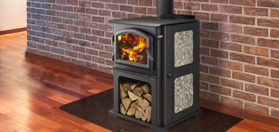 Quadra-Fire Dicovery Series 1-2-3    View Full Specs   Space saving wood storage bin, holds a days worth of wood. Personalize your stove by choosing the included tile side or the solid side panel. Tile side uses any 12 x 12 ceramic tiles. Solid side can be left black or painted using high temperature paint.