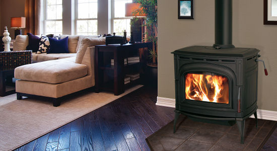 Blaze King Ashford    View Full Specs   The Ashford 30 has a beautiful Cast Iron body which is available in three colors, metallic black paint, midnight satin enamel and chestnut high gloss enamel. The Ashford 30 uses our cleanest burning firebox at 0.97gms/hour.