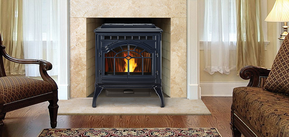 Quadra-Fire Mt Vernon    View Full Specs   Exceptionally quiet operation, a large hopper and flexible fuel options make the Mt. Vernon the best pellet stove available. Now in porcelain deep blue finish!