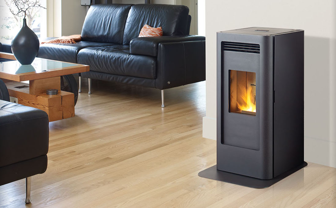 Regency Greenfire GF40    View Full Specs   The Greenfire Small Pellet Stove features a modern and compact design, with a multi-tube heat exchanger that will heat your room evenly and efficiently. Included with this stove is a large ash pan and slim hearth pad, making clean up effortless. Even though this stove looks compact, the extra large hopper means less loading and more relaxing.