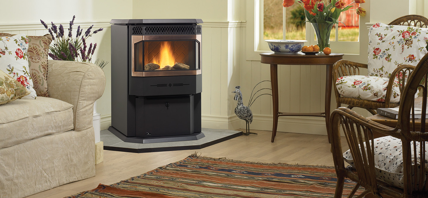 Regency Greenfire GF55    View Full Specs   Regency's Greenfire Medium Pellet Stove was designed with a large bay ceramic window to give you an exceptional view of the fire. Cast iron brick panels compliment the classic pedestal design, which includes a large concealed ash pan. The heavy-duty heat exchanger will provide maximum heat for your living area.