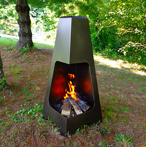 Pyramid Chimenea   Buck outdoor chiminea offers modern design and classic clean lines for a striking addition to your patio or outdoor cooking area. Solid cold rolled steel construction and powder coating provide long lasting finish.