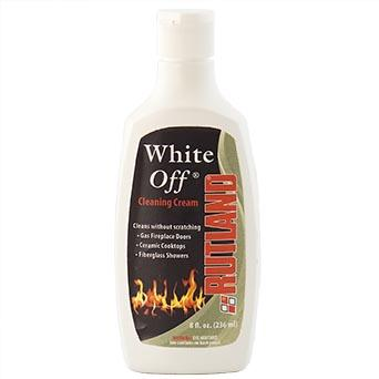 White Off   Non-abrasive White Off glass cleaning cream is specially formulated to remove white residue caused by gas log fires on glass fireplace doors.