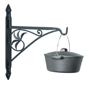 Fireplace Crane   Wrought iron crane, matte black, perfect for warming a pot of stew.