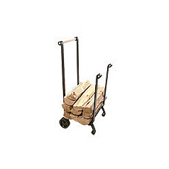 Wood Cart   Forged iron, non-marring wheels, wood handle.