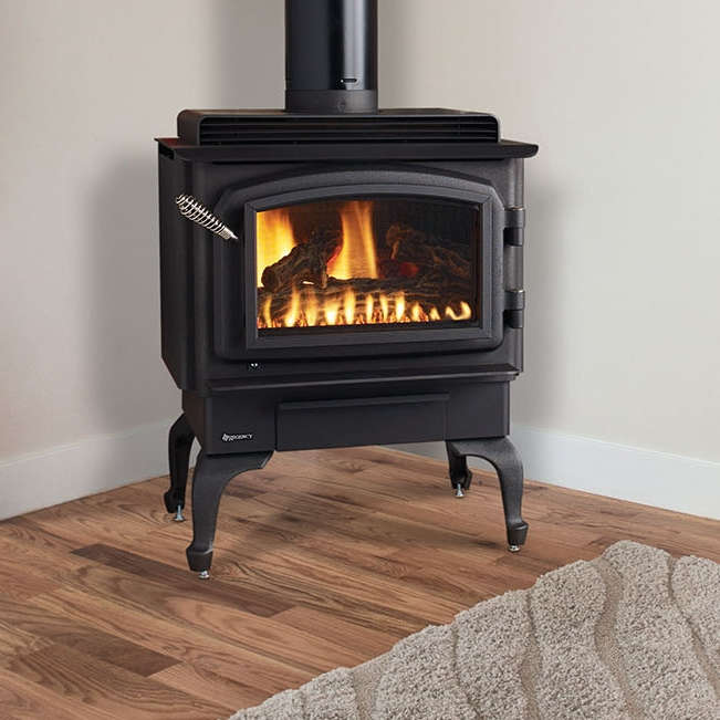 Regency Classic C34    View Full Specs   The Regency Classic Gas Stove mirrors the authentic styling of a wood stove with all the convenience of gas. No Chimney? No Problem. With the direct vent option, you can vent up and out of your home saving installation dollars.