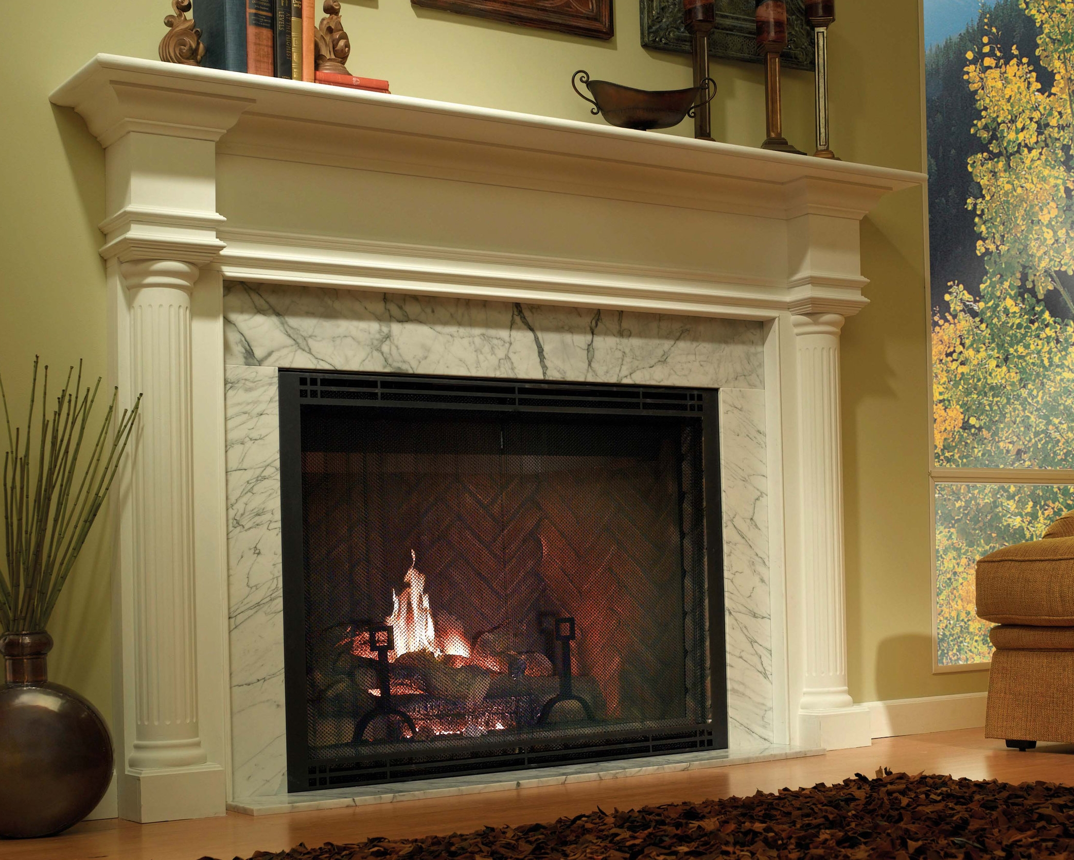 Heatilator Icon    View Full Specs   With its unique refractory lining color and texture, Icon is a timeless, dramatic fireplace. Icon's opening height measures at twenty-eight inches and has a true brick to brick opening width of forty-two inches. View more sizes on  Heatilator's website .