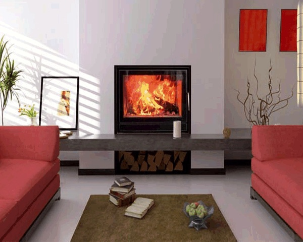 """Wittus Optifire    View Full Specs   The Optifire is available either with a sleek """"flat screen"""" door or a convex style curved door that broadens your viewing area (this is especially nice in a corner installation)."""