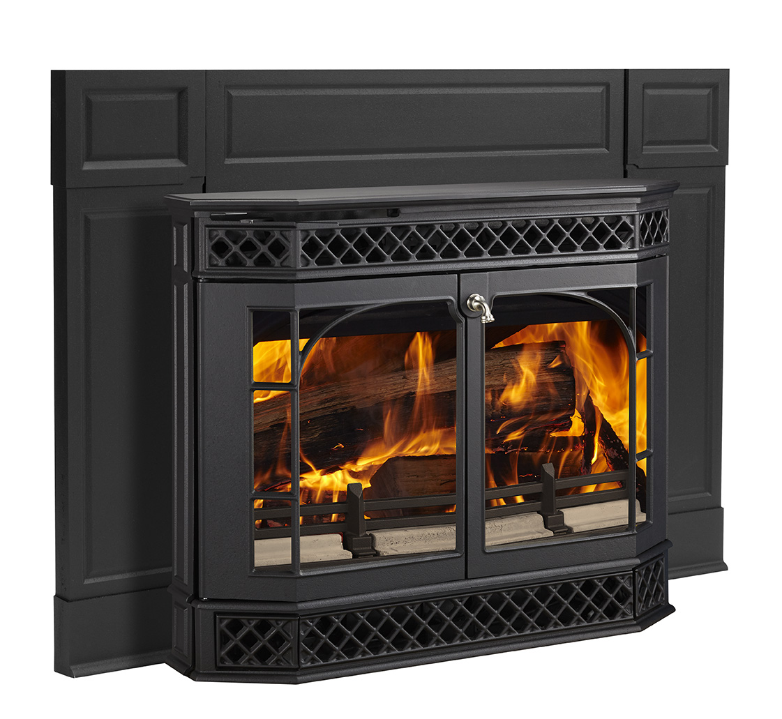 Vermont Castings Merrimack     View Full Specs   The Merrimack wood insert maintains that timeless appeal and highlights large, unobstructed views of the fire, turning your existing masonry fireplace into an efficient centerpiece.