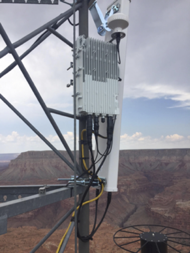 LTE network equipment installed on a tower overlooking Supai.