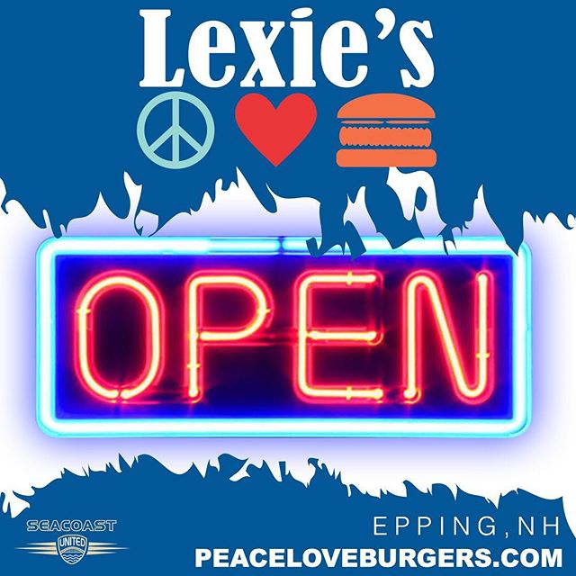 """ATTENTION BURGER LOVERS! Our friends at @peaceloveburgers have officially opened their newest restaurant at the Seacoast United Sports Complex! Come enjoy a burger & pint next time you're in town. ☮❤🍔Visit seacoastunited.com to learn more #WeAreSUSC #BePartOfIt #SupportLocal #BestOfNH"""