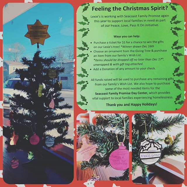 Looking to spread some Holiday Cheer? Swing on down to Lincoln Street this week and choose an  ornament off our Giving Tree to purchase a gift for a local family in need. Lots of other great ways to help too! #lexies #peacelovepassiton #exeternh #seasonofgiving