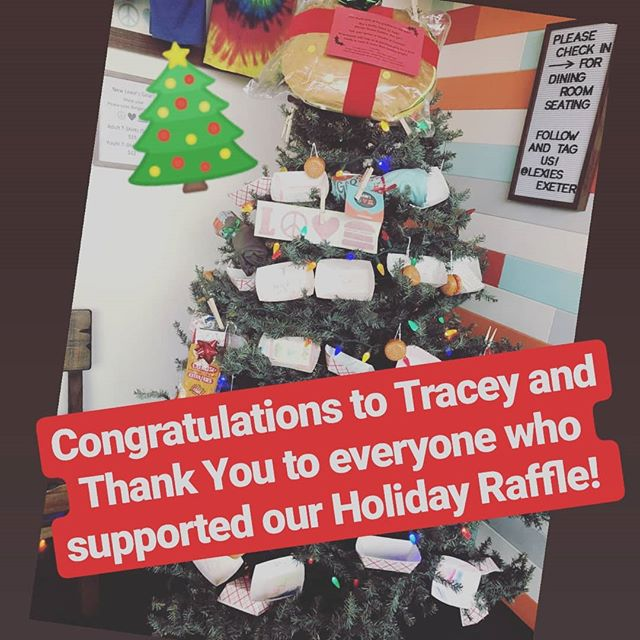 And the Winner is...Tracey Huppe! Tracey has won all the great treats on our Lexie's Tree! 100% of the proceeds from the raffle are going towards the purchase of items from the Holiday Wish List of a local family in need. Stay tuned for reminders about how you can still help us spread some Christmas cheer! #lexies #peacelovepassiton #exeternh