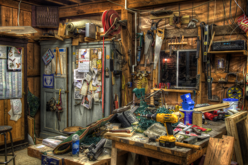 A workshop that reminds me a lot of my dad's, by  John Tornow  on Flickr.
