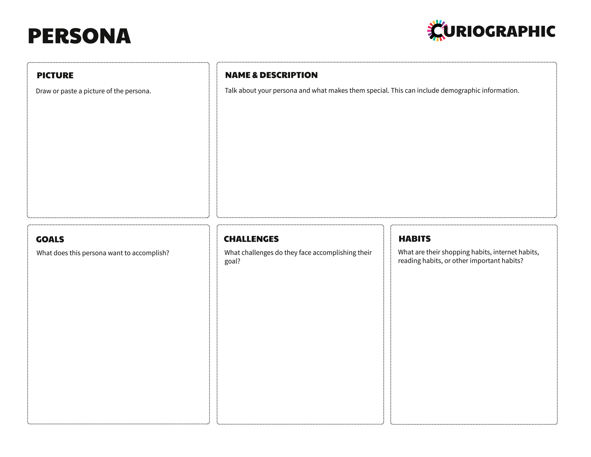 Persona Template - Let our persona template help you get started making personas for your comic projects!