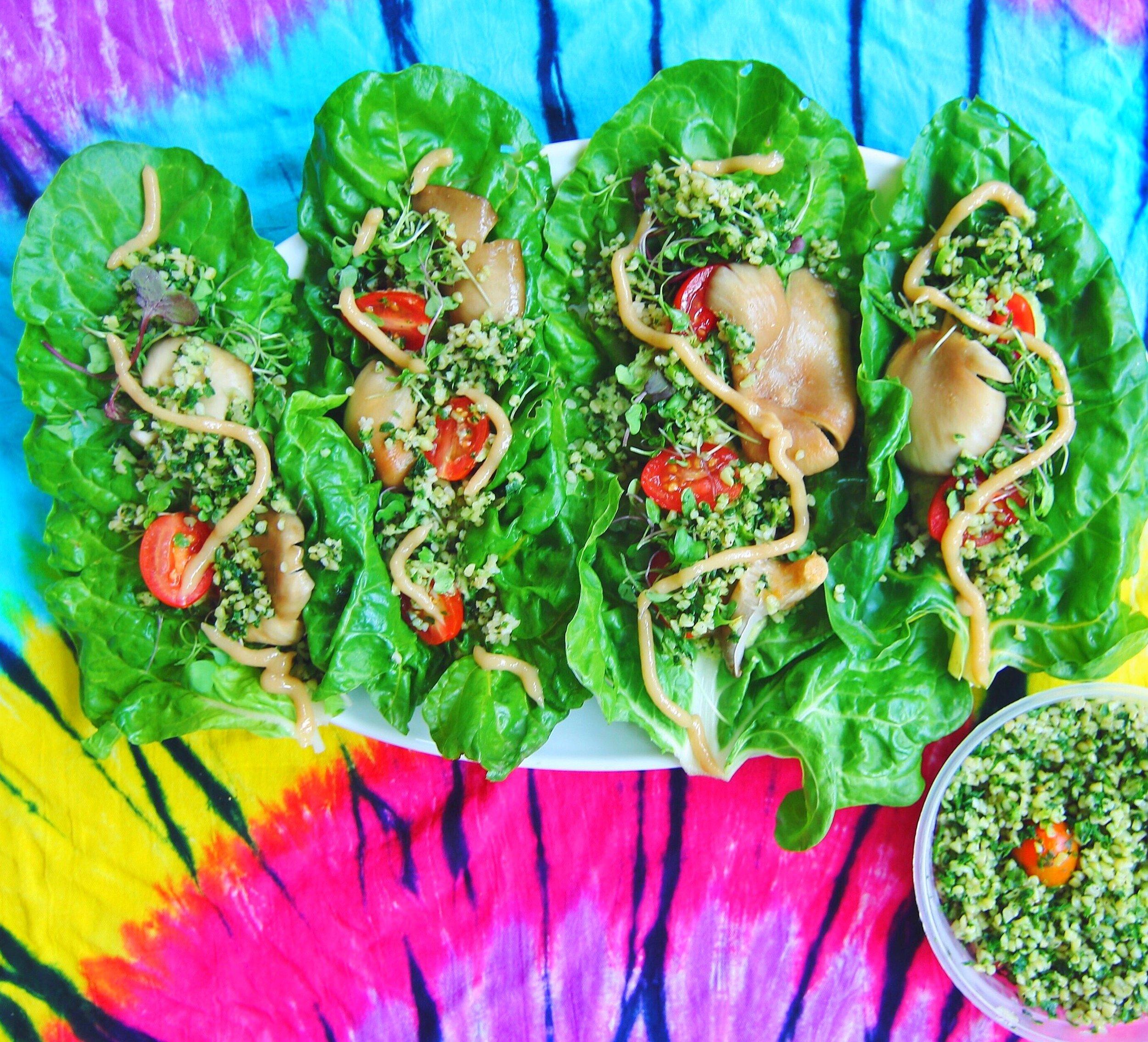 Rainbow Chard Raw Tacos with Marinated Oyster Mushrooms
