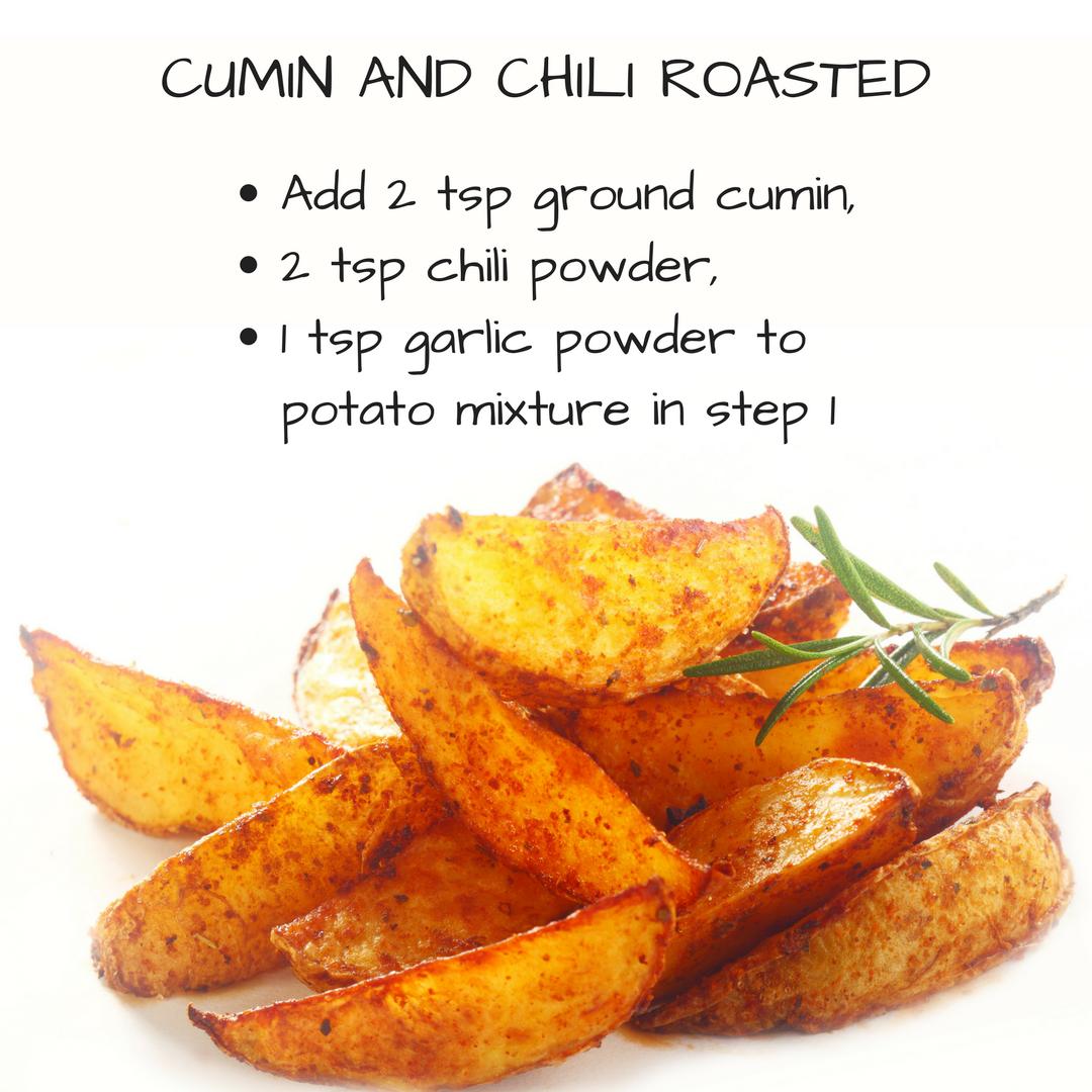 cumin and chili roasted sweet potatoes