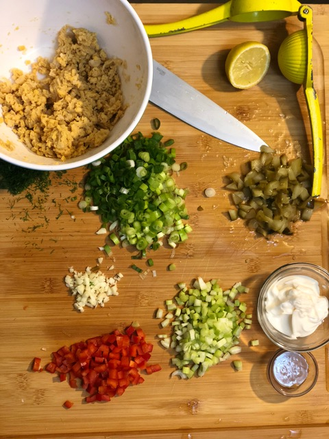 prepared ingredients for chickpea salad sandwich