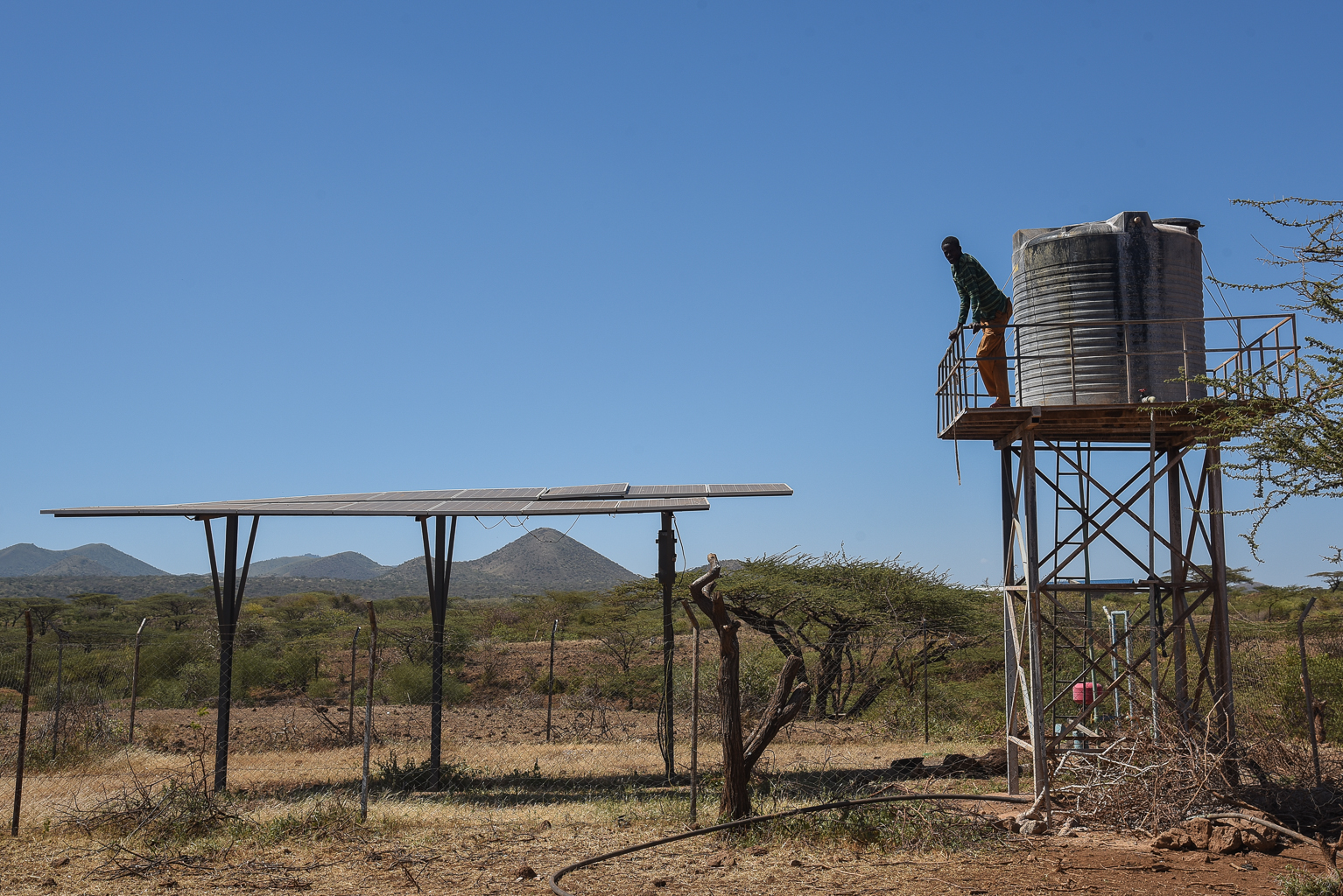 Bore hole with solar powered pump